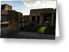 Herculaneum Ruins - Mosaic Tile Streets And Sun Splashes Greeting Card
