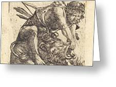 Hercules Overcoming The Nemean Lion Greeting Card