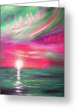 Here It Goes - In Teal And Magenta Vertical Sunset Greeting Card