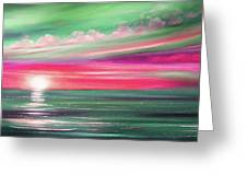 Here It Goes In Teal And Magenta Panoramic Sunset Greeting Card
