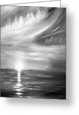 Here It Goes -vertical Sunset In Black And White Greeting Card
