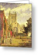 Hereford Cathedral Greeting Card by John William Buxton Knight