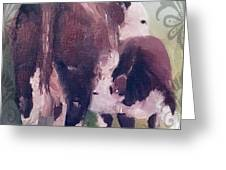 Hereford Cow Calf Greeting Card