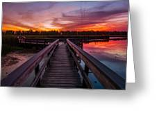 Heritage Boardwalk Twilight - Square Greeting Card