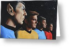 Heroes Of The Final Frontier Greeting Card by Kim Lockman