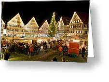 Herrenberg Christmas Market At Night Greeting Card by Greg Dale