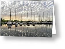 Herringbone Sky Patterns With Yachts And Boats  Greeting Card