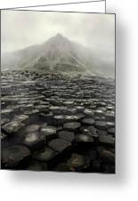 Hexagon Stones And A Mountain In The Morning Fog Greeting Card