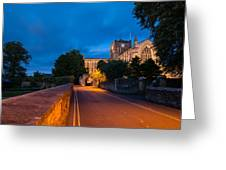 Hexham Abbey At Night Greeting Card