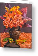 Hibiscus And Cannas In Balinese Jug Greeting Card
