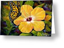 Hibiscus With Monarch Greeting Card