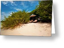Hideaway. Maldivian Beach Greeting Card by Jenny Rainbow