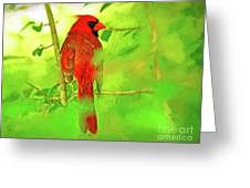 Hiding Behind The Leaves - Male Cardinal Art Greeting Card