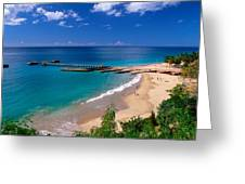 High Angle View Of A Pier On Crashboat Beach Puerto Rico. Greeting Card
