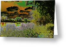 High Contrast River Sunset Greeting Card
