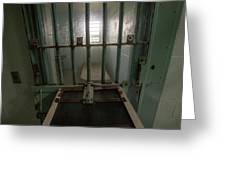 High Risk Solitary Confinement Cell In Prison Through Bars Greeting Card
