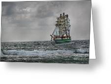 High Seas Sailing Ship Greeting Card by Randy Steele