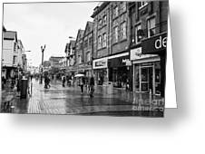 High Street Rhyl On A Wet Summers Day North Wales Uk Greeting Card