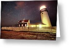 Highland Light Truro Massachusetts Cape Cod Starry Sky Shadow Greeting Card