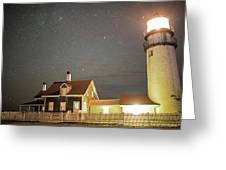 Highland Light Truro Massachusetts Cape Cod Starry Sky Greeting Card