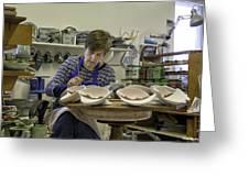 Highland Stoneware Artist At Work Greeting Card