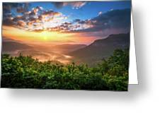Highlands Sunrise - Whitesides Mountain In Highlands Nc Greeting Card