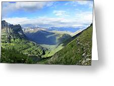 Highline Trail Overlooking Going To The Sun Road - Glacier National Park Greeting Card