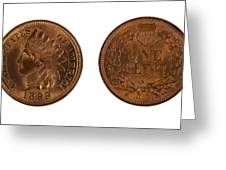 Highly Graded American Indian Head Cents On White Background  Greeting Card