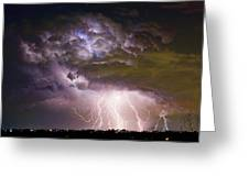Highway 52 Storm Cell - Two And Half Minutes Lightning Strikes Greeting Card