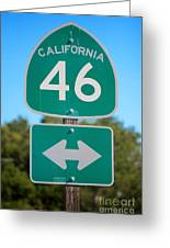 Highway Fourty Six Greeting Card