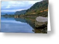 Highway Light Trails On Columbia River Gorge Greeting Card