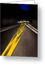 Highway Lines Dance At Night Greeting Card