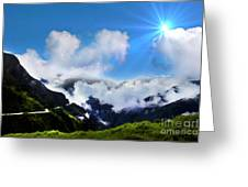 Highway Through The Andes - Painting Greeting Card