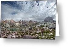Hiker At Twin Lakes - Chicago Basin - Weminuche Wilderness - Colorado Greeting Card