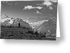 Hiker In The Alps Greeting Card