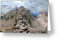 Hiker On Mt Eolus Catwalk - Chicago Basin - Weminuche Wilderness - Colorado Greeting Card