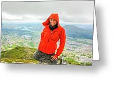 Hiker Woman In Norway Greeting Card