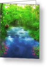 Hiking At The Rivers Edge Greeting Card
