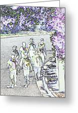 Hiking Down The Street I  Painterly Glowing Edges Invert  Greeting Card