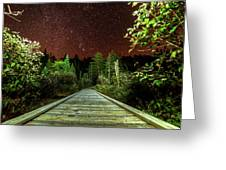 Hiking Into The Night Adirondack Log Keene Valley Ny New York Greeting Card