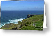 Hiking Path Along The Top Of The Cliff's Of Moher Greeting Card