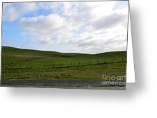 Hiking Trails, Rolling Hills And Grass Fields In Ireland Greeting Card