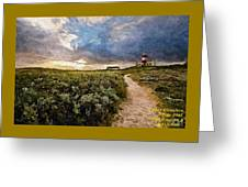 Hill Road To A Lighthouse H A Greeting Card