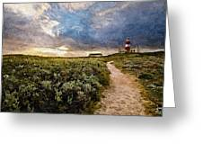 Hill Road To A Lighthouse H B Greeting Card