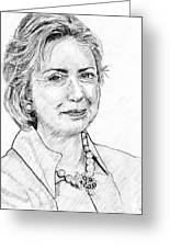 Hillary Clinton Pencil Portrait Greeting Card by Rom Galicia