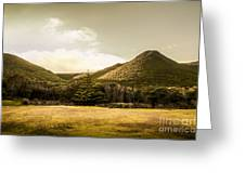 Hills And Fields Of Trial Harbour Greeting Card