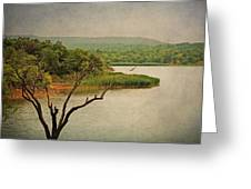 Hills And Lake In The Spring Greeting Card