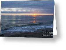 Hills Of Clouds With Ocean Sunset Greeting Card