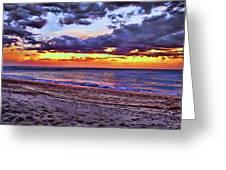 Hillsboro Beach Orange Sunset Hdr Greeting Card