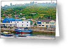 Hillside Along Harbor Near Angelo Fish Market In Puerto Montt-chile  Greeting Card